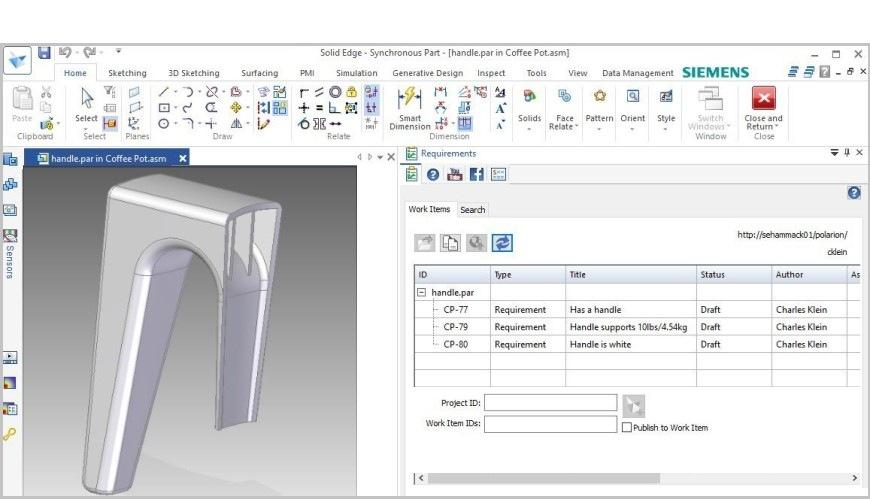 requisitos de diseño de producto con solid edge