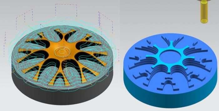 Mecanizado de piezas con la estrategia de corte de 2,5 ejes